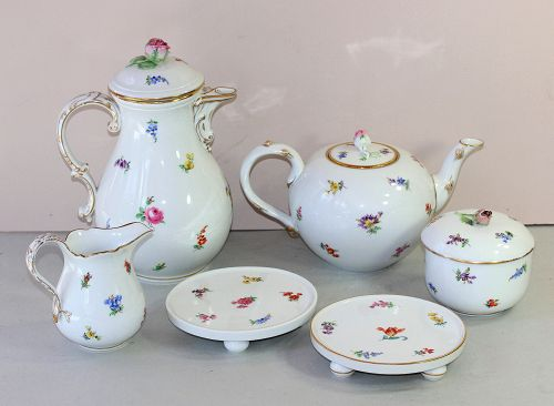 6 piece German Meissen Porcelain Tea Set, cross sword mark