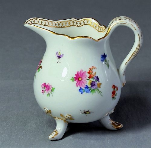 German Meissen Porcelain Creamer, cross sword mark