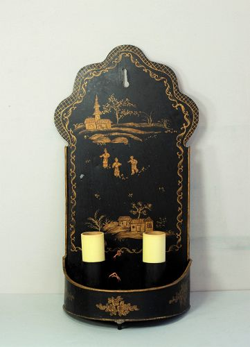 Tole Sconce, gold Chinoiserie design on black