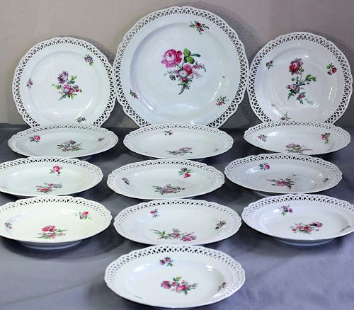 13 German Berlin Porcelain reticulated deep Plates & 1 Charger