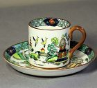 5 English Staffordshire Porcelain Demitasse Cups & Saucers