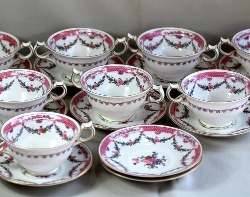 "Eight(8) English ""Crescent"" Porcelain Bouillon Soup Cups & Saucers"