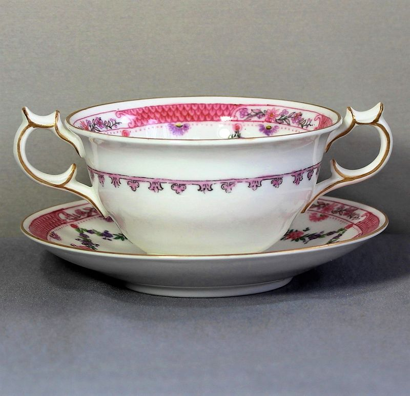 "8 English ""Crescent"" Porcelain Bouillon Cups & Saucers"