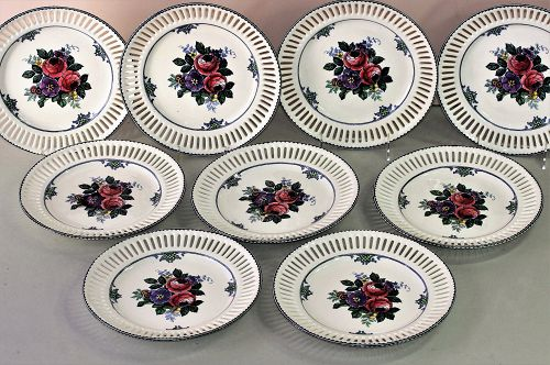 "9 German ""Waechtersbach"" Earthenware reticulated border plates"