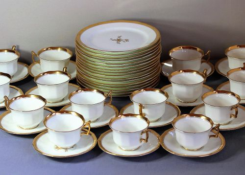 "English ""Cauldon"" Porcelain Gold Band Dessert Set"
