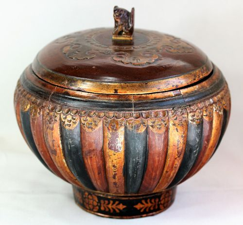 Chinese Lacquered Wood Bowl & cover with Foo Dog top