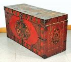 Tibetan Polychrome Lacquer on Wood Trunk, Dragon design