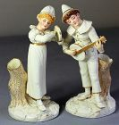 Pr. English Worcester Porcelain Figures, Musicians