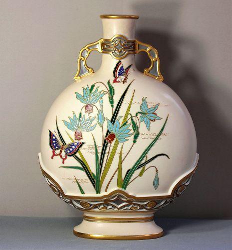English Worcester Porcelain Large Flask shape Vase/Urn