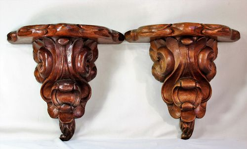 Pr. Rosewood hand carved Wall Bracket, shelves, Display Stand