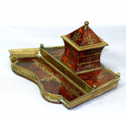 European Art Deco Brass & Burl Walnut inlaid Standish, desk set