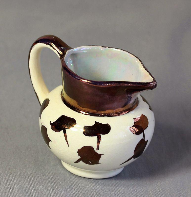 English Staffordshire Copper Luster Porcelain Creamer