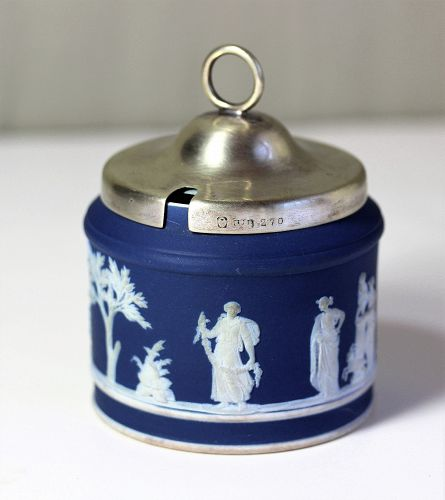 English Wedgwood Blue Jasper ware Mustard pot & Silver top