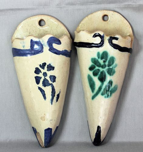 Pair European Earthenware Wall Pockets