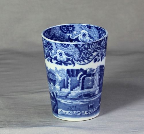 English Spode Copeland porcelain Blue Transferware Beaker