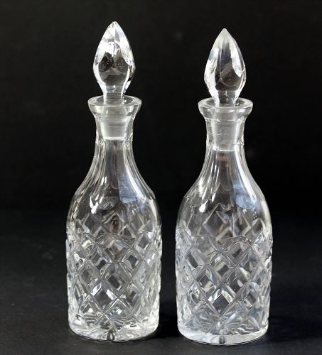 Two(2) pieces Cut Crystal Cruet Set with Tops