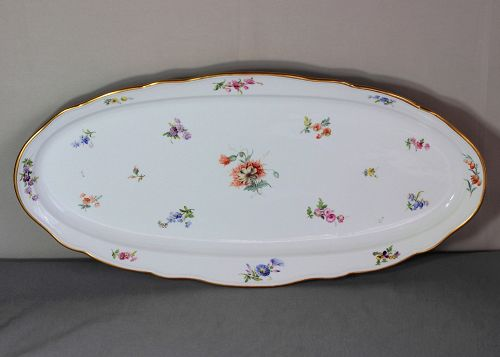 German Meissen Porcelain Fish Platter, cross sword mark