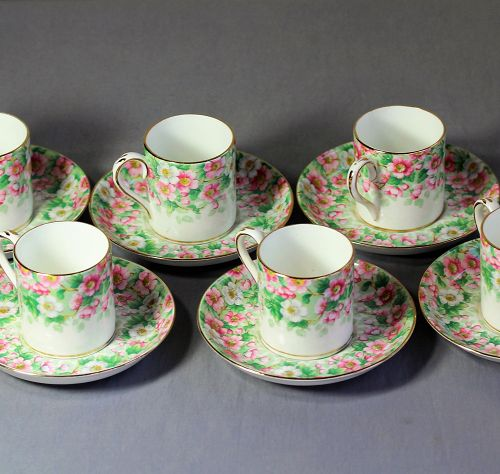 6 English Staffordshire Porcelain Demitasse Cup & Saucer