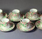 6 English Staffordshire Porcelain Demitasse Cups & Saucers