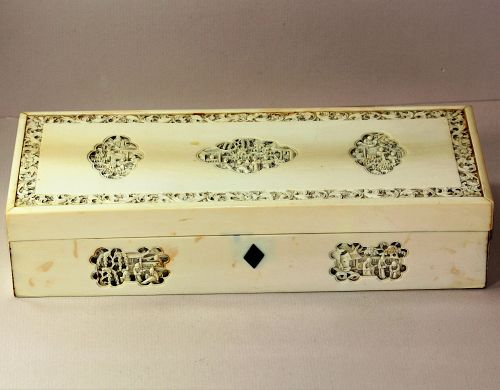 Chinese Export Carved Ivory Box for European Market