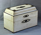 French White lacquered Wood Tea Caddy with steel hardware