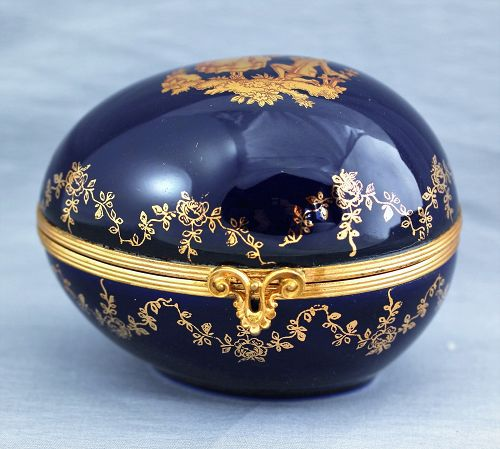 French Limoges Porcelain Egg shape Box