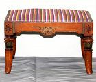 English Polychrome hand painted on Satin Wood Foot Stool