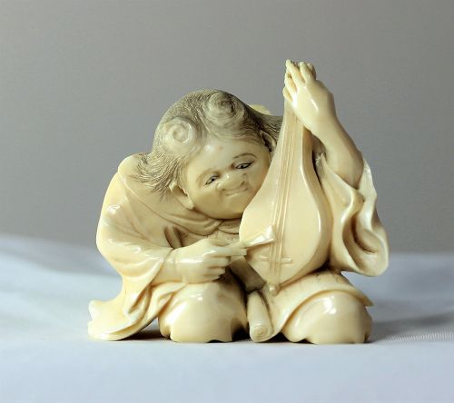 Japanese Ivory String Musical instrument Player