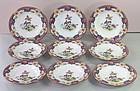"""Nine(9) English Shelly Porcelain Salad/Dessert Plates, """"Old Sevres"""""""