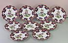 "9 English Shelley Porcelain Scalloped Dessert Plates, ""Old Sevres"""