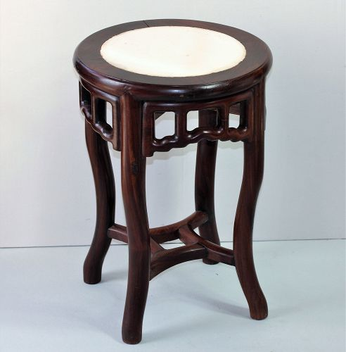 Chinese Marble top round Stool/table with Hardwood Frame