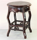 Chinese Blackwood & Natural Mottled Marble top round Stool/table