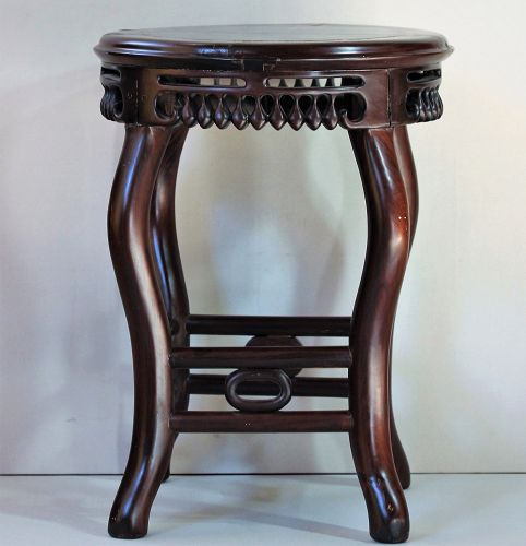 Chinese Hardwood and Natural Mottled Marble top round Stool/table