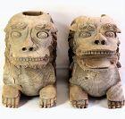 Pr. Japanese carved Wood Shrine Guardian Lions