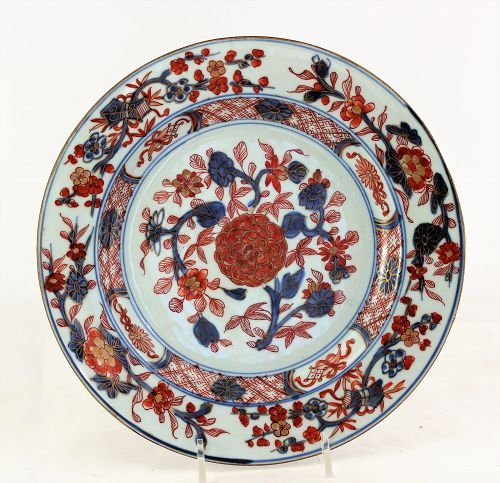 Chinese Export Imari Porcelain Plate with Peony flowers, 18th C.