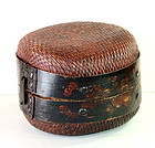 Chinese Lacquered woven Reed and wooden framed Box