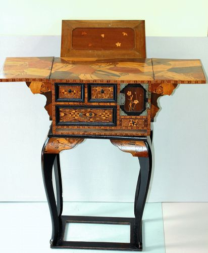 Japanese Marquetry inlaid wood Book Stand & Chess Table