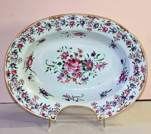 Chinese Export Famille Rose Porcelain Barber's Bowl