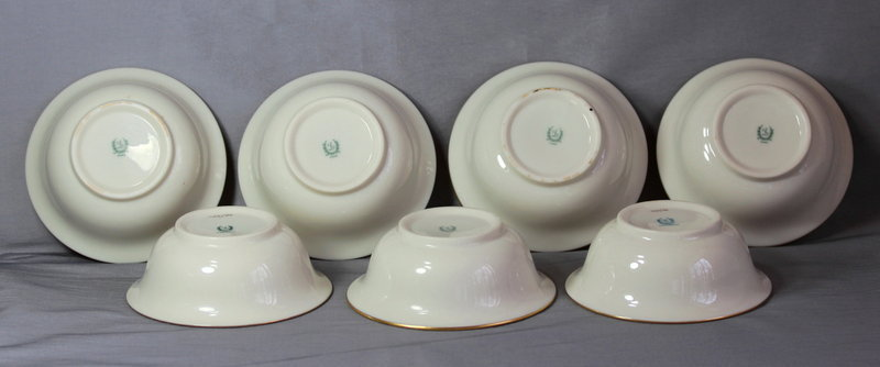 7 large Lenox Porcelain Inserts for Cream Soup for sterling holder