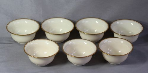 7 Lenox Porcelain Bouillon soup Inserts for sterling holder