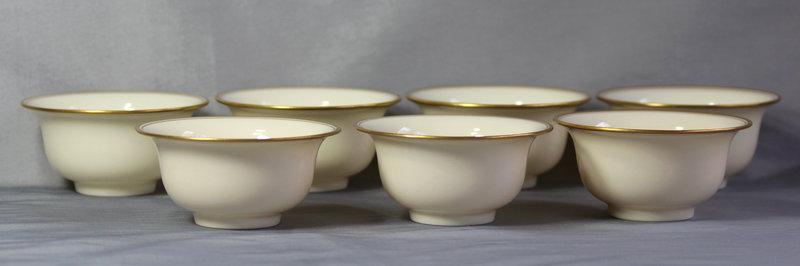 7 Lenox Porcelain Bouillon soup Inserts for sterling holder