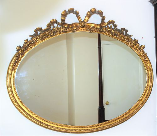 American Gilded carved Wood Frame large oval Mirror, Rose Ribbon top