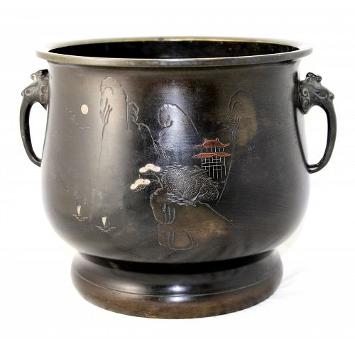 Japanese Bronze Hibachi, inlaid with silver & copper