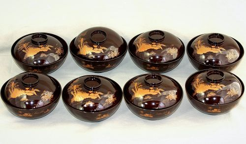Eight(8) Japanese Gold Maki Lacquer covered bowls