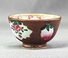 Chinese Export Cafe Au Lait & Famille Rose Porcelain Tea Bowl