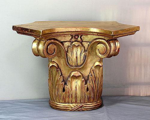 Gold leaf on wood carved Corinthian style Wall Bracket or Shelf