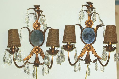 Pair 2 light gilded metal Sconces with gold beads shades