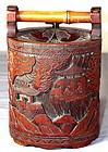 Japanese carved Bamboo Sake Jug or Sake Ewer, 19th C.
