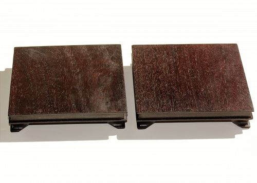 Pair Chinese Hardwood square shape Display Stands