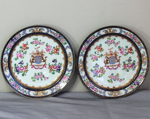 Pair French Samson factory Armorial decorated Porcelain Plates